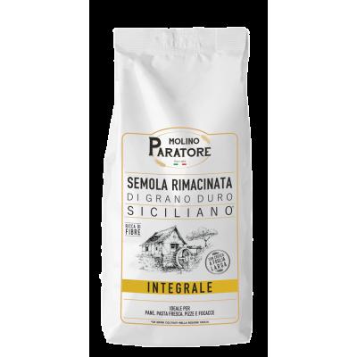 """Sacco da 1 Kg farina integrale di grano duro siciliano """"scuro"""" con crusca a foglia larga Molino Paratore"""
