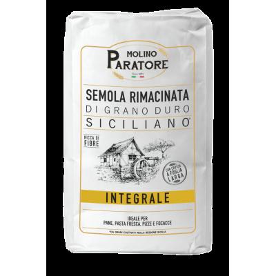 """Sacco da 5 Kg farina integrale di grano duro siciliano """"scuro"""" con crusca a foglia larga Molino Paratore"""
