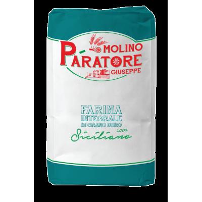 """Sacco da 25 Kg farina integrale di grano duro siciliano """"fino"""" con crusca a foglia fine Molino Paratore"""