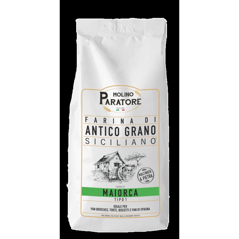 """Sacco da 1 Kg farina di antico grano siciliano """"Maiorca"""" tipo1 Molino Paratore"""