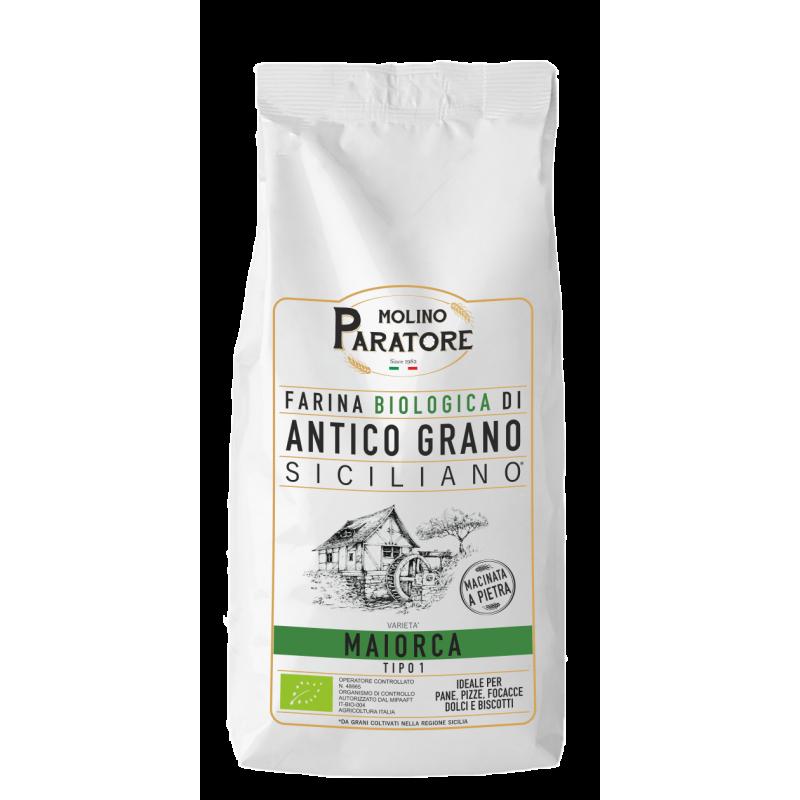 """Sacco da 1 Kg farina di antico grano siciliano """"Maiorca"""" tipo1 bio Molino Paratore"""