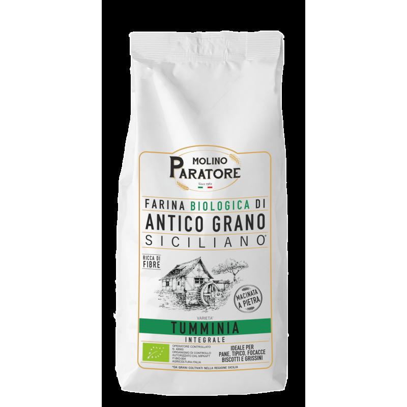 """Sacco da 1 Kg farina di antico grano siciliano """"Tumminia"""" integrale bio Molino Paratore"""