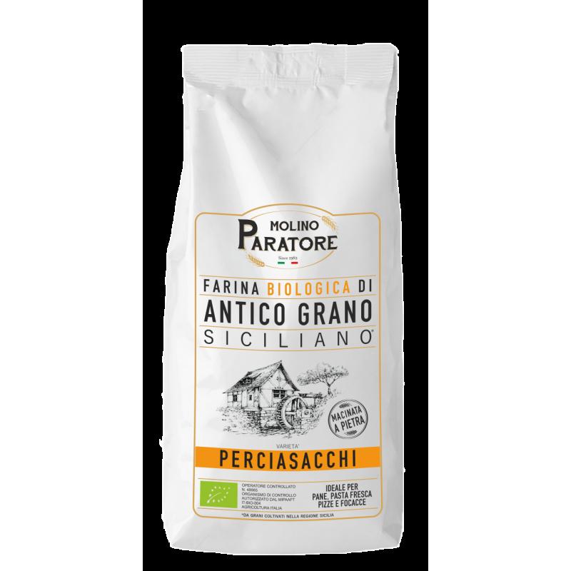 """Sacco da 1 Kg farina di antico grano siciliano """"Perciasacchi"""" bio Molino Paratore"""