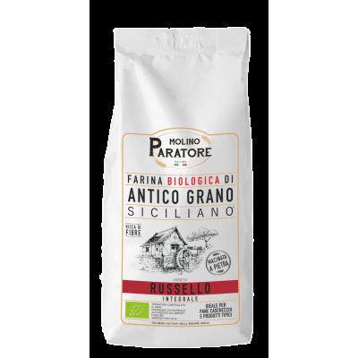 """Sacco da 1 Kg farina di antico grano siciliano """"Russello"""" integrale bio Molino Paratore"""