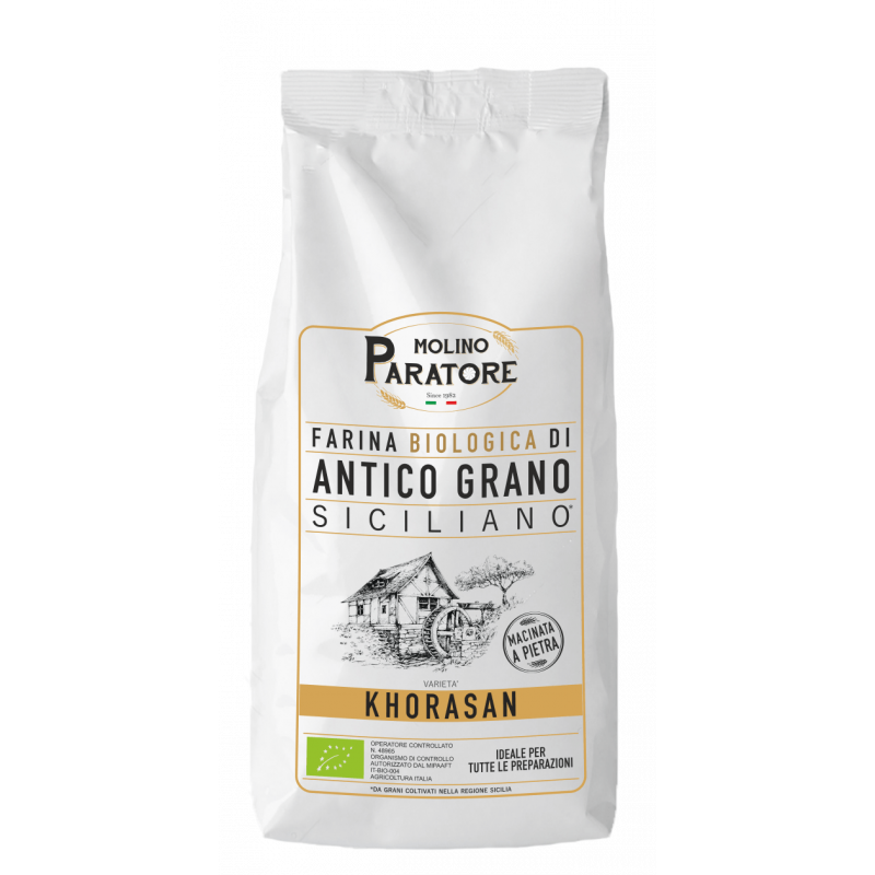 """Sacco da 1 Kg farina di antico grano siciliano """"Khorasan"""" bio Molino Paratore"""