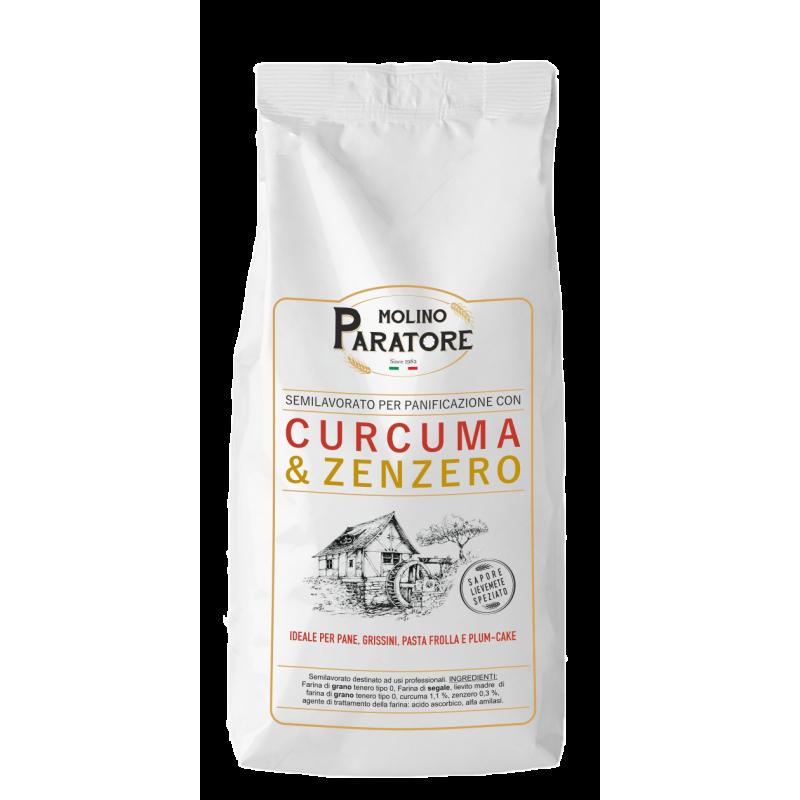 """Sacco da 1 Kg farina di grano tenero con """"curcuma e zenzero"""" Molino Paratore"""